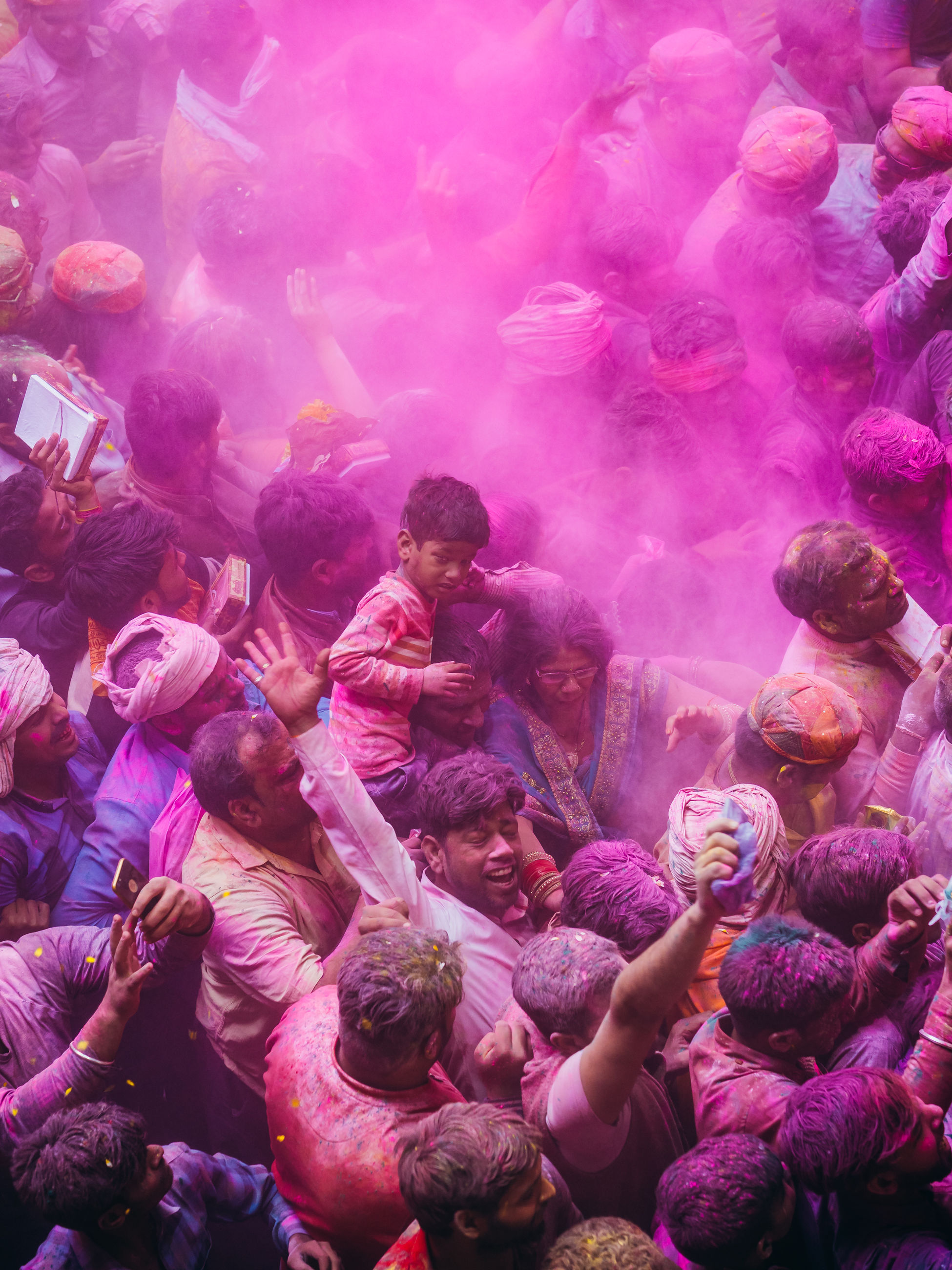 crowd, group of people, large group of people, real people, celebration, enjoyment, holi, powder paint, fun, men, day, high angle view, traditional festival, religion, multi colored, togetherness, festival