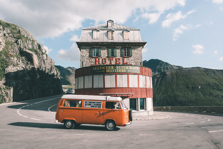 Lovely camper van at Furka mountain pass in Switzerland Adventure Alps Camper Camper Van Camping Car Classic Flowerpower Furka Furkapass Hippie Hotel Road Road Trip Roadtrip Schweiz Suisse  Swiss Swiss Alps Switzerland Van Vintage Vintage Cars Volkswagen VW Traveling Home For The Holidays The Great Outdoors - 2017 EyeEm Awards Summer Road Tripping