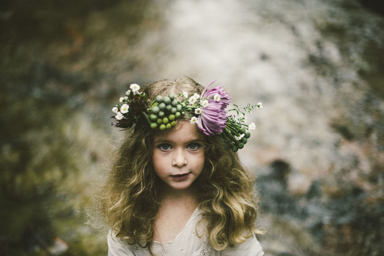Portrait of girl wearing floral crown