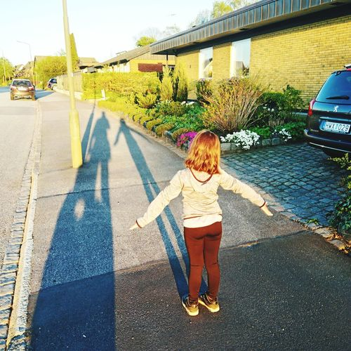 Girl's shadow Girl Child Full Length Childhood Shadow Togetherness Sunlight Sky Focus On Shadow