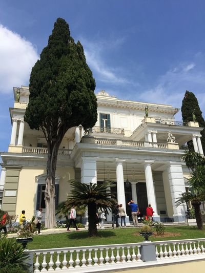 Achilleion palace on Corfu. (1) Greece Photos CorfuIsland Architecture Built Structure Building Exterior Statue Travel Destinations Architectural Column History Architecture