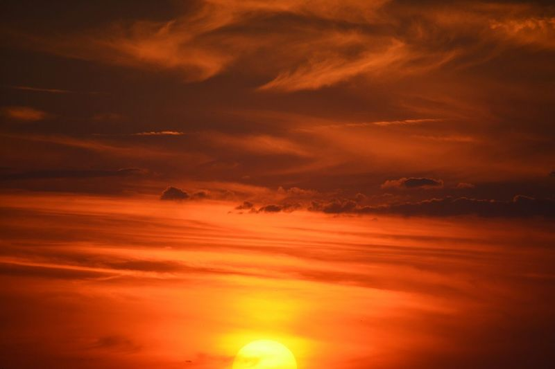 Low Angle View Of Orange Sky During Sunset