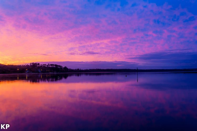 quiet morning Sunset Reflection Beauty In Nature Dusk Scenics Lake Water Cloud - Sky Backgrounds No People Sky Purple Outdoors Tranquility Tree Nature Tranquil Scene Night Blue Landscape