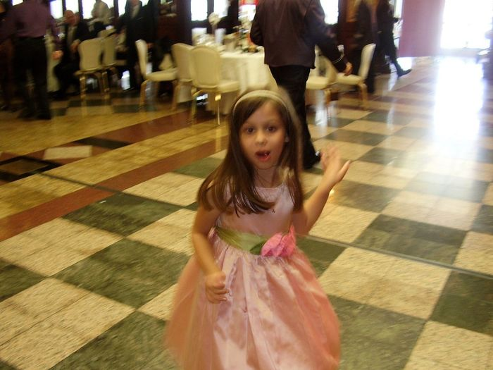 Bar Mitzvah Party Dancing Girl Dance Floor Celebration Child Dancing One Person Pink Dress Movement Little Girl Dancing Alone Pink Satin Dress Twirling Dancing Spinning