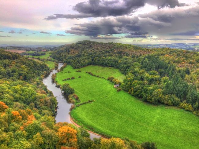 Beauty In Nature Cloud - Sky Countryside Day Distant Green Green Color High Angle View Idyllic Landscape Lush Foliage Nature Non-urban Scene Outdoors Remote River Wye Scenics Sky Solitude Symonds Yat Tranquil Scene Tranquility Tree Valley Water