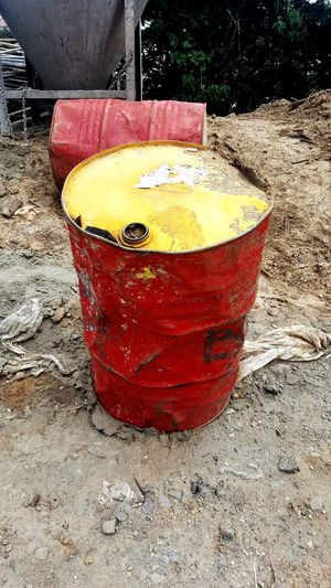 Old Drum - Container Construction Site Working Steel Rusty No People Sand Day Yellow Outdoors Red Close-up