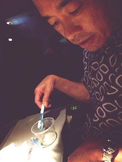 Brushing Teeth On Plane