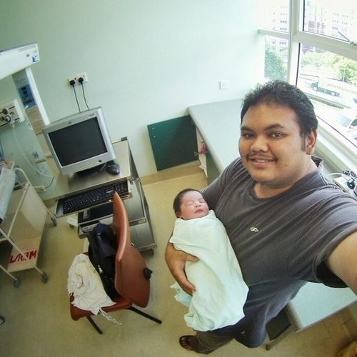 Assalamualaikum and Welcome to the world! Newborn Baby Selfie Syukran Justdelivered Paternity Gopro Family Babies Tuesday Serdang Hospitalp