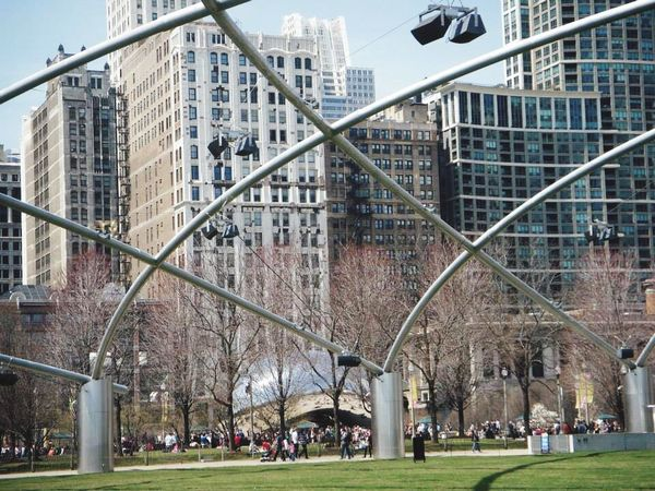 Millennium Park Architecture Built Structure Building Exterior Grass Modern City Large Group Of People Day Outdoors Skyscraper Real People Men Tree Nature Sky People Chicago Cloud Gate Chicago