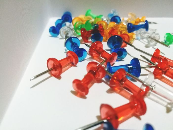 Multi Colored Large Group Of Objects Close-up Indoors  Day No People Push Pins EyeEmNewHere Macro Office Supply