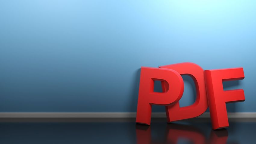 The write PDF in red 3D letters standing on a glossy black floor of a room, leaning at its blue wall - 3D rendering illustration PDF Document Write Backgrounds Text Letter 3d Rendering Illustration Concept Red Blue Room Computer Internet Business Commerce Banner Www Web Downloading Upload