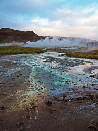 Beauty In Nature Day Gas Iceland Landscape Natural Phenomenon Nature Nature No People Outdoors Scenics Sky Steam Sulfur  Thermal Tranquility Volcanic  Volcanic Landscape Water