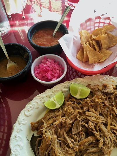 Cochinita Pibil, a traditional pork dish from Yucatan, Mexico. Pork Meat Food Mexican Freshness Ready-to-eat Plate Meal Indulgence Close-up Lunch Salsa Yúcatan Shredded Slow Roasted