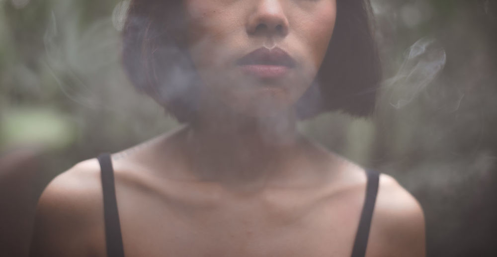 Smoking woman.
