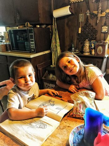 Live For The Story Looking At Camera Children At Play Coloring Book Smiling Eyes Two Is Better Than One. Life In Color Smiling Just Because Home Is Where The Heart Is Cheerful Child Togetherness Memories Grandchildren Love FunnyFaces