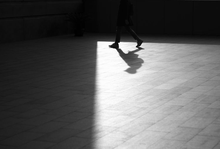 Low Section Of Man Walking On Floor