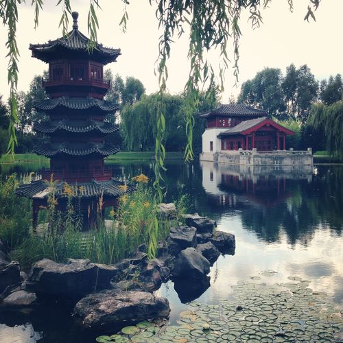 Architecture Asian Culture Building Exterior Built Structure Chinese Garden Day Gärten Der Welt Japan Japanese Garden Lake Marzahn Nature No People Outdoors Pagoda Reflection Shrine Sky Tree Water