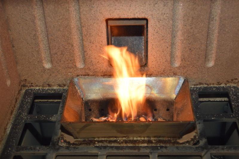 Burning fire on log