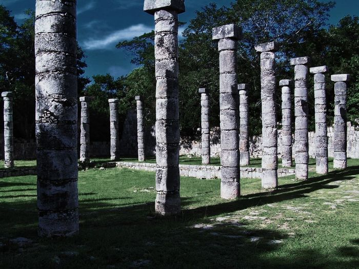 Chitza Nitza, Mexico Mayan Ruins Mexico Architectural Column Day Grass Mayanculture Nature No People Outdoors Sky Temple