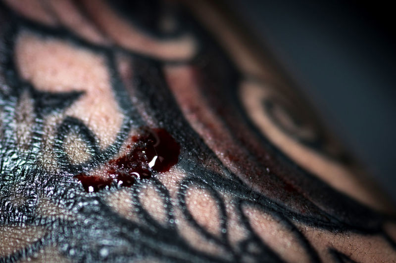 At Work Macro Photography Red Studio Tattoo Artist Black Blood Close-up colour of life Day Drip Coffee Drip Of Blood Human Body Part Hurts Indoors  Injury One Person People Scratches Selective Focus Skin Tattoo
