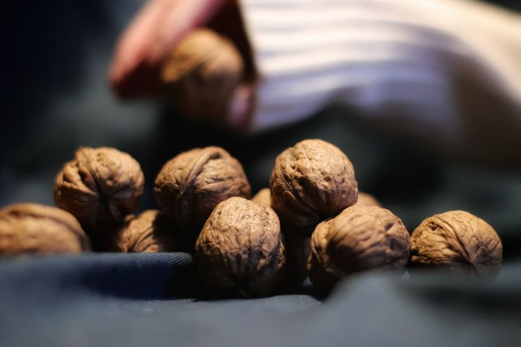 Close-up of nuts on table
