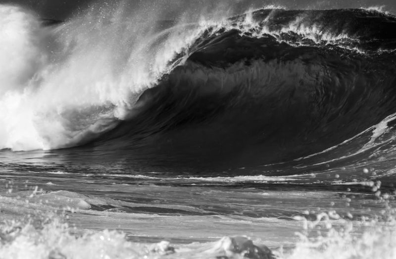 Wave close up in Black and White Hawaii Oahu Surf Backgrounds Beauty In Nature Beauty In Nature Black And White Breaking Waves Close-up Crashing Day Full Frame Motion Nature No People North Shore Outdoors Power Power In Nature Sea Splash Splashing Water Waterfront Wave