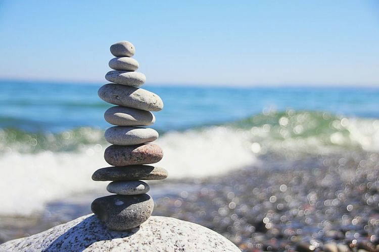 ☯ IN BALANCE ☯ Sea Water Beach Balance Rock - Object Stack Horizon Over Water Pebble Nature Stability Sand Zen-like Beauty In Nature Wave Summer No People Strength Day Outdoors Sky Ladyphotographerofthemonth Baltic Sea Freshness At The Ocean Silence