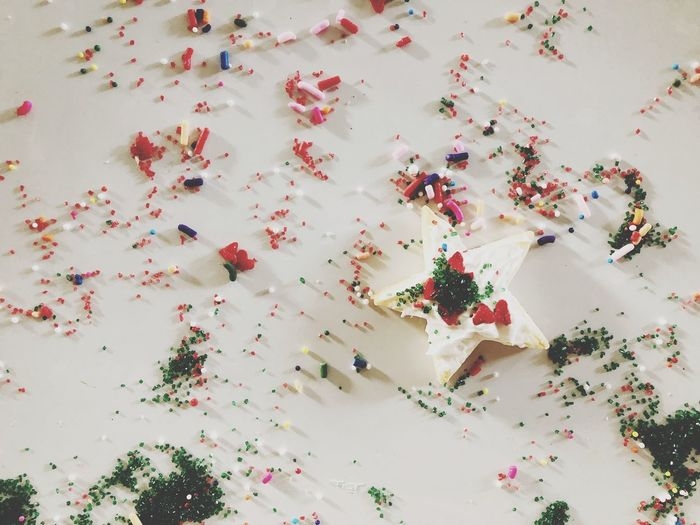 Christmas cookies High Angle View Flower Confetti Freshness No People Celebration Beauty In Nature Wedding Close-up Day Petal Event Red Plant White Color Multi Colored Flowering Plant Indoors  Nature