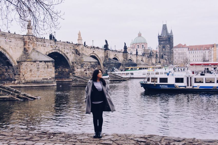 Get to know the city. Fashion Traveling Architecture Bridge Building Exterior Built Structure Lifestyles Mode Of Transportation Nautical Vessel One Person Ootd Real People River Solotraveler Standing Style Travel Destinations Water Women