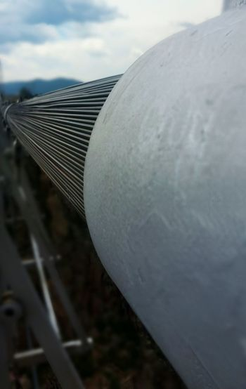 Follow the support. EyeEm Best Shots EyeEm Outside Colorado Royal Gorge Bridge, Colorado Bridge Bridge - Man Made Structure Wire Gray Grey Suspension Bridge Metal Industry Science Business Finance And Industry Close-up Sky