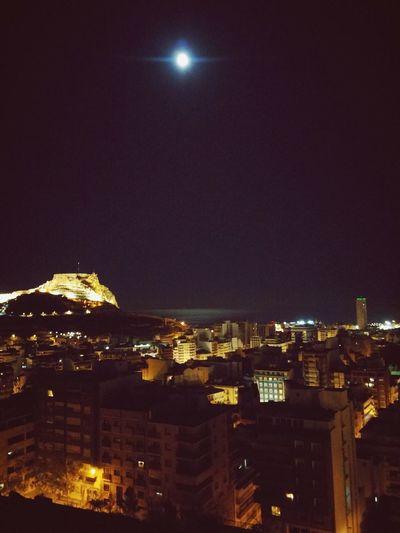 Photography SPAIN Alicante City Hello World Taking Photos España First Eyeem Photo Castle Castillo Moon Moonlight LG G3 Photography Movil Mobilephotography