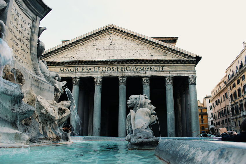 Pantheon Architecture Statue Art And Craft History Architectural Column Sculpture Built Structure Travel Destinations Monument Outdoors Building Exterior Day Sky City Rome Italy Taking Photos EyeEm Gallery EyeEm Best Shots Pantheon Water Your Ticket To Europe National Monument Memorial War Memorial Fountain Tombstone Gravestone Sculpted