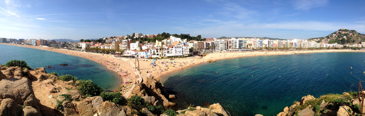Panoramic view of costa brava against sky