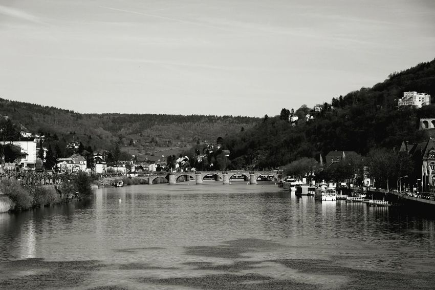 Old bridge Water Bridge - Man Made Structure Day Nature Outdoors B&W Magic Old Buildings Old Architecture River Riverside Black And White Heidelberg Neckar Nature Black & White Neckar River People Sky EyeEmNewHere