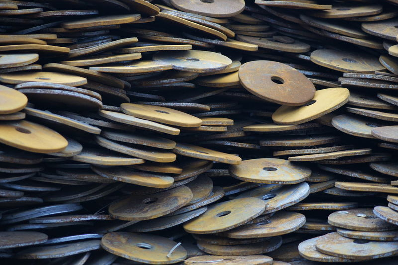 Abundance Close-up Day Full Frame Indoors  Large Group Of Objects Metal No People Rusty Metal Scrap Scrap Metal Scrapmetal Stack Washers Washerscaps EyeEmNewHere