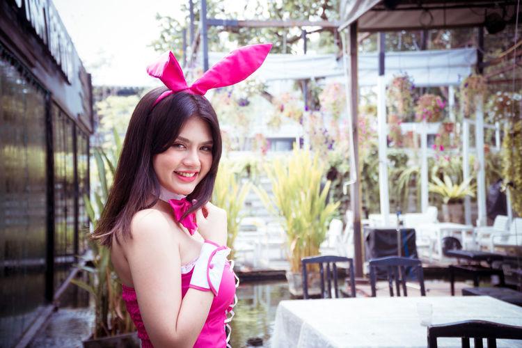 Portrait of beautiful woman in rabbit costume