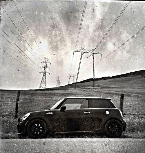 Blackandwhite Power Lines Mini Cooper You've Got Me Wired