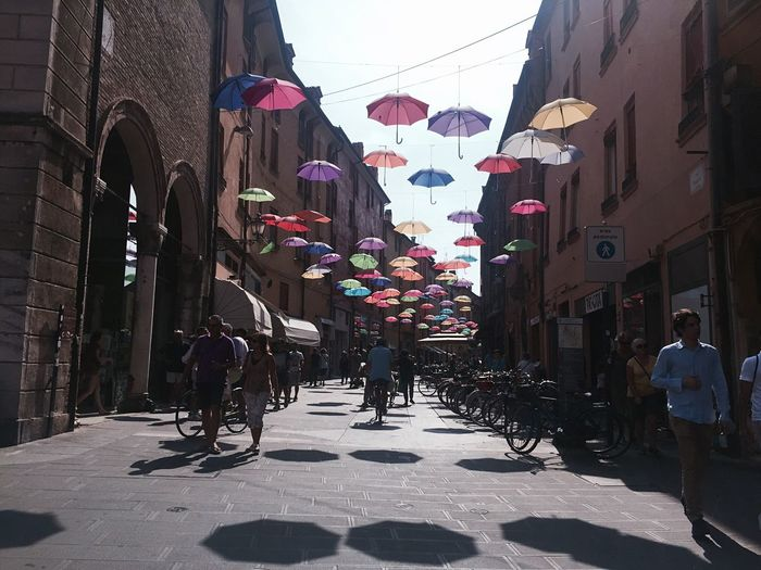 Architecture Street Walking Outdoors Umbrellas Colors Crowd People Brick