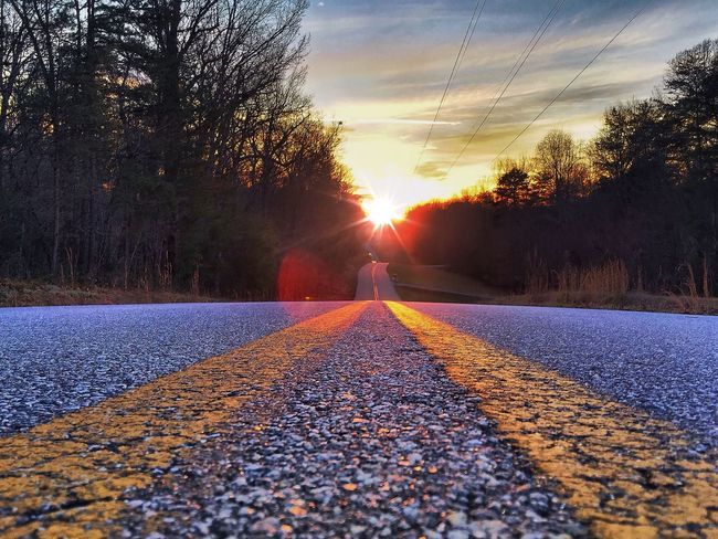 Road Distance Into The Void Valley Sunset Travel Lead Landscape Adventure