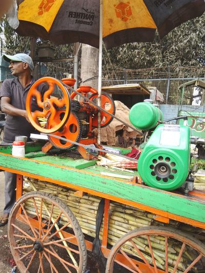 sugarcane One Person Sugarcanejuice Machine Bright Day Variation Wheel Day Outdoors