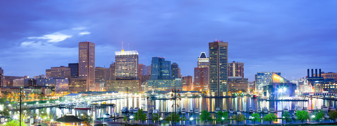 Downtown city skyline and Inner Harbor, Baltimore, Maryland, USA Baltimore Harbor Inner Harbor Marina Maryland Panoramic View Architecture Building Exterior Built Structure City Cityscape Cloud - Sky Illuminated Modern Night Outdoors Sky Skyscraper Urban Skyline Water Waterfront
