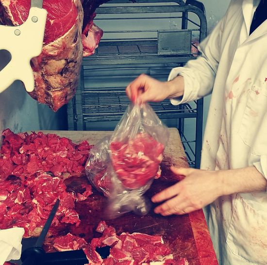 Butcher Block Butcher Man At Work Meat! Meat! Meat! Butcher's Shop Butcher's Block Red Food