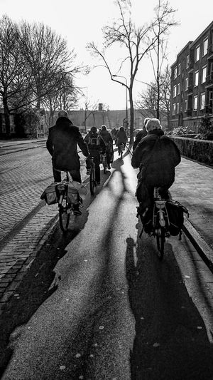 Celebrate Your Ride, Cycling towards the Light in Groningen. Light And Shadow, Black And White Photography, Enjoying the Winter Sunshine
