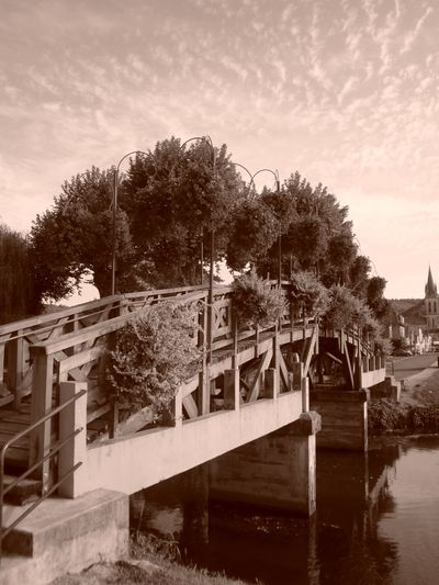 Architecture Bridge - Man Made Structure Building Exterior Built Structure Day Nature No People Outdoors Reflection River Sepia Sepia Photography Sky Tree Water
