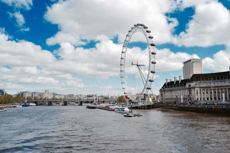 Architecture Bridge - Man Made Structure City Cloud - Sky Day London London_only LondonEye LONDON❤ No People Outdoors River Sky Travel Destinations Urban Skyline Water