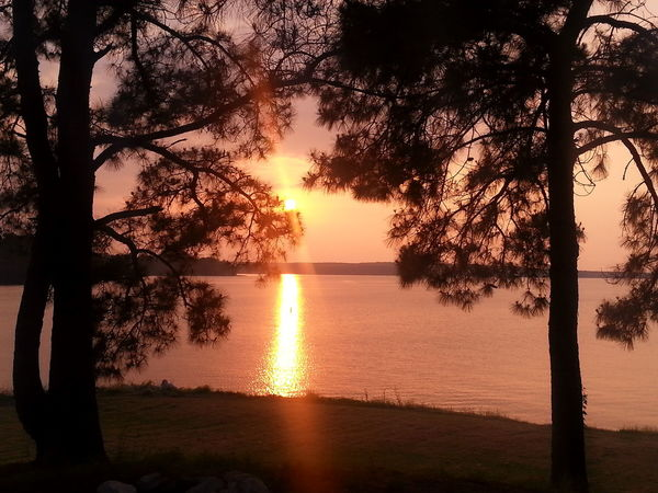 Sunset Toledo Bend Dam Texas Skies Outdoors Relaxing