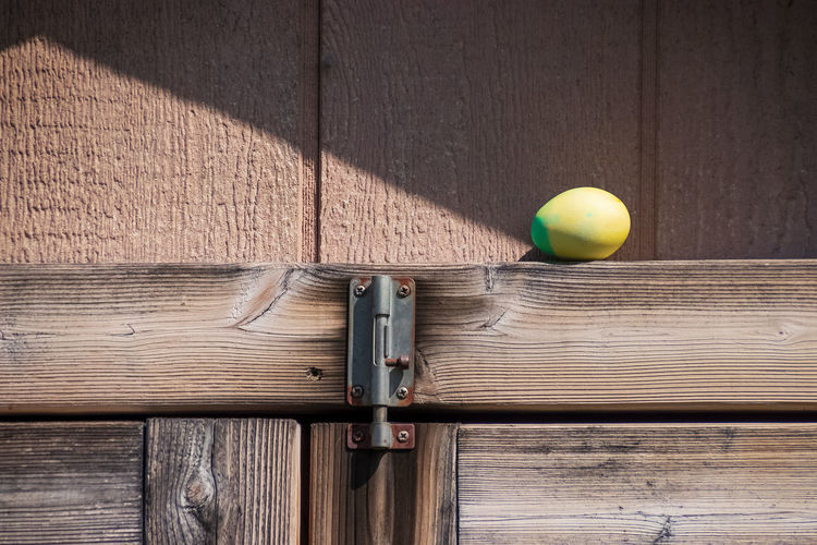 Dyed Easter egg sitting on beam of wooden shed during egg hunt Easter Spring Springtime No People Wood - Material Ball Table Indoors  Close-up Sport Still Life Day Wood Brown Sphere Sunlight Door Food And Drink Entrance Tennis Ball High Angle View Plank Food