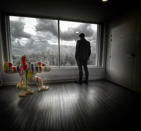 Rear view of man looking through window at home