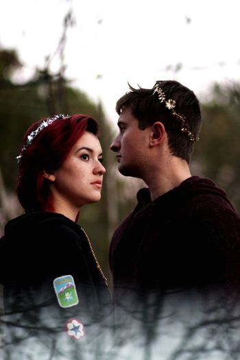 Portrait of a young couple looking away