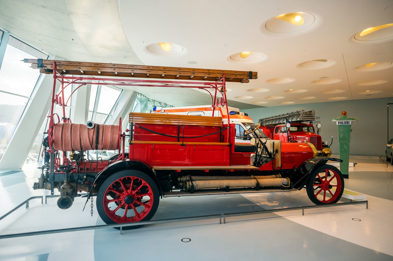 mode of transport, transportation, land vehicle, red, fire engine, no people, indoors, day